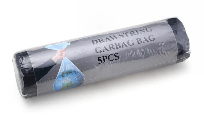 Construction Drawstring Garbage Bags Plastic HDPE High Duty Pressure