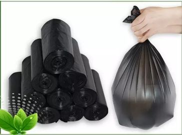 China Black Tall Kitchen Dustbin Garbage Bag Thickness 6 - 30mic HDPE / LDPE Material supplier